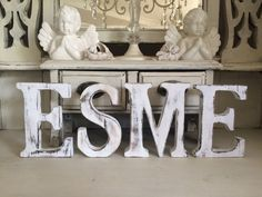"""LARGE SHABBY CHIC VINTAGE WHITE WOODEN """"ESME"""" Letters BABY GIFT CHRISTENING"""