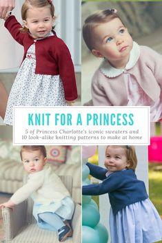 10 Princess Charlotte Cardigan Knitting Patterns - Knit for a Princess! Baby Cardigan Knitting Pattern Free, Knitted Baby Cardigan, Knit Baby Sweaters, Knitted Baby Clothes, Baby Hats Knitting, Knitting For Kids, Baby Knitting Patterns, Baby Patterns, Tunic Pattern