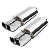 DNA MFL-OV-DT-SQ-BNT-25-3  Stainless Steel Dual 3 Bent Tip Exhaust Oval Muffler (Set of 2)