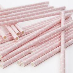 Polka Dot Baby Pink Straws