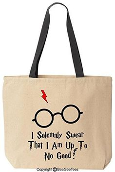I Solemnly Swear That I Am Up To No Good Funny Harry Potter Reusable Canvas Tote Bag by BeeGeeTees (Black Handle)