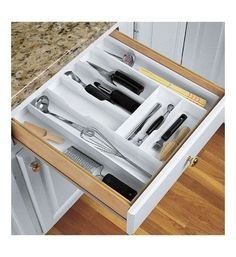 The bamboo expandable kitchen drawer organizer offers up to seven kitchen expand a drawer large cutlery organizer kitchen utensil storage workwithnaturefo