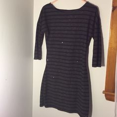 EXPRESS sweater dress! This sequined, striped sweater dress from Express is perfect for any winter wardrobe! Size small, worn only a couple of times. Excellent condition. Express Dresses