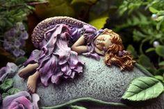 Sleeping Fairy On Garden Rock Concrete Fairy Garden Statue Outdoor Statues, Garden Statues, Garden Sculpture, Fairy Statues, My Fairy Garden, Garden Art, Fairy Gardens, Garden Ideas, Miniature Gardens