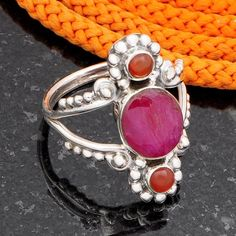 925 SOLID STERLING SILVER NEW STONE RUBY & CARNELIANE RING 6.39g DJR4535 #Handmade #Ring