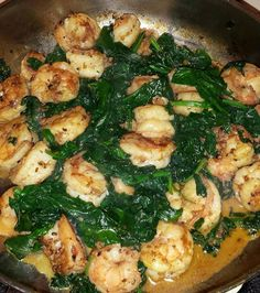 Shrimp and sauteed spinach