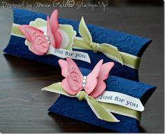 butterfli, stampin up pillow box, gift, pillow box ideas, color combos, pillow box favors, craft idea, favor boxes, pillow boxes