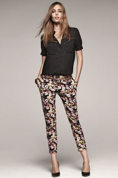 flower pants with black top