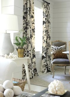 Custom Pleated Drapes in Schumacher Pyne Hollyhock Print in Charcoal, $1,000 per pair (http://store.lynnchalk.com/drapes-in-schumacher-pyne-hollyhock-print-charcoal/)