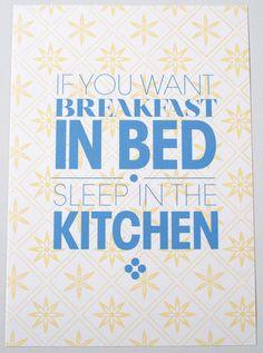"""Druck """"Breakfast in bed"""" // Print """"Breakfast in bed"""" by Fortmart - Zeit für schönes! via DaWanda.com"""
