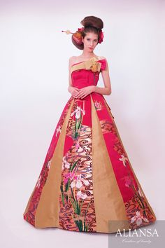 Wedding dress · wedding dress's dress order · rental dress is Ariansa Wedding Dressses, Wedding Gowns, Beautiful Dresses, Nice Dresses, Kimono Dress, Dress Red, Wedding Kimono, Dress Rental, Colored Wedding Dresses