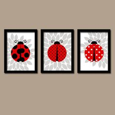 ★LADYBUG Wall Art Girl Nursery Lady bug Artwork Child Love Bug Choose Colors Red Black Green Flower Set of 3 Prints Baby Crib Decor Three  ★Includes 3 pieces of wall art ★Available in PRINTS or CANVAS (see below)  ★SIZING OPTIONS Available from the drop down menu above the add to cart button with prices. >>>  ★PRINT OPTION Available sizes are 5x7, 8x10, & 11x14 (inches). Prints are created digitally and printed with UltraChrome Hi-Gloss ink on professional 68lb satin luster phot...