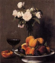 Henri Fantin-Latour - Still Life with Roses, Fruit and a Glass of Wine, 1872