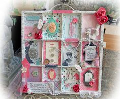 Just Listed~ All That Glitters Altered Printer Tray Vintage Prima, Scrapmatts Chipboard, Tim Holtz, Butterfly, Flower