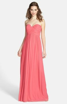 Laura Ruched Sweetheart Silk Chiffon Gown - Lyst