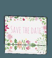 Vrolijke save the date kaart in aquarel, hip en trendy