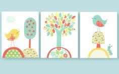 Aqua and Coral Nursery Birds Tree Girl by SweetPeaNurseryArt
