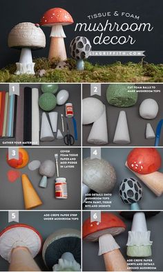 DIY Tissue & Foam MushroomTutorial from MichaelsMakers Lia Griffith garden party ideas DIY Fairy Tale Mushrooms - Lia Griffith Kids Crafts, Toddler Crafts, Projects For Kids, Arts And Crafts, Mushroom Crafts, Mushroom Decor, Mushroom Lights, Ben E Holly, Enchanted Forest Party