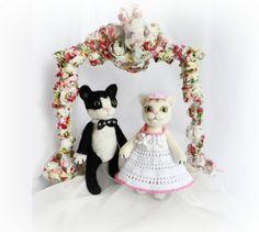 Cats Wedding Cake Topper Animal Wedding Cake by WoolPaw