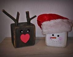 reindeer snowman bloc wood wooden bałwanek bałwan renifer rudolf z drewna drewno sosna