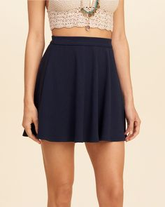 This skater skirt is a wardrobe essential in ribbed knit and solid colors, Imported