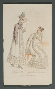 Fashionable Dresses for June 1818: Coloured engraving of two ladies, one seated at a table and the other holding a parasol. Published June 1st 1818 by Dean & Munday, Threadneedle Street.