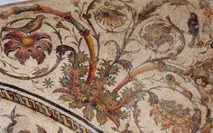 The finest mosaic of the Villa Dar Buc Ammera in #Zliten, dated back to between the 1st and 2nd centuries AD
