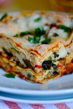 Roasted Vegetable Lasagna with homemade marinara and ricotta.