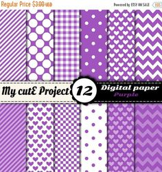 12 digital papers, color : white and purple. Polka dots, heart, chevron, gingham. DIGITAL PAPER PACK : - You can print for your scrapbooking projects, cutting, invitation cards ... - You can use for your digital creations, banners design, background image for your blog ... FORMAT :-:-:-:-:-:-:-:-:-:-:-:-:-:-:-:-:-:-:-:-:-:-:-:-:-:-:-:-:-:-:-:-:-:-:-:-:-:-:-:-:-:-:-:-:-:-:-: A4 and 12x12 inches JPG files high quality 300 dpi Suitable for digital use or printing. YOU WILL RECEIVE :-:-:-...