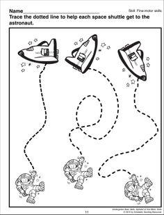 Aide l'astronaute à rejoindre sa fusée... Exercices de pré-écriture