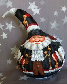 Vive La France, St. Nicholas, French, hand painted gourd, 9 inches tall on Etsy, $175.00