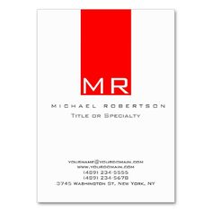 Modern Monogram White Red Clean Business Card. Make your own business card with this great design. All you need is to add your info to this template. Click the image to try it out!
