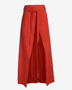 Barbara Bui Maxi Wrap Skirt: Orange: This design creation is for comfort as it has been crafted with a self tie wrap waistline. Lined. In orange. Length from waistline to hem: ...