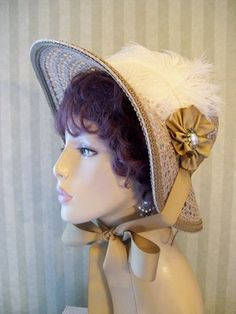 Civil War~Bonnet~Tan Hat~Feathers~Victorian~SASS~Millinery~Hat | eBay