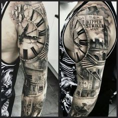 "Résultat de recherche d'images pour ""black and gray half sleeve tattoos clocks"""