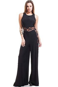 0bd784b25658 Nyteez Women s Black Wide Leg Jumpsuit With Sheer Lace Cut Outs (Small)
