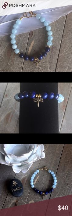 Gemstone Bracelet for Stress Relief I designed this bracelet for stress with 8mm Lapis Lazuli, Aquamarine gold findings, heart toggle and dragonfly charm. Handmade Jewelry Bracelets
