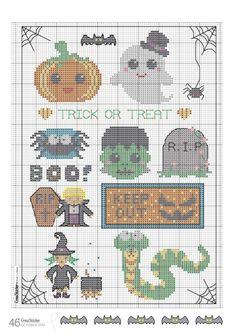 Free cross stitch chart - the cutest Halloween sampler Fall Cross Stitch, Cross Stitch Charts, Cross Stitch Designs, Cross Stitch Patterns, Cross Stitching, Cross Stitch Embroidery, Embroidery Patterns, Plastic Canvas Crafts, Plastic Canvas Patterns