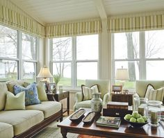 Fresh & Casual Sunroom    Springtime colours bring the outside in.      This room's focus is the spectacular view. The green and earth tones found in the cushions and blinds adapt and complement the ever-changing lakefront panorama.