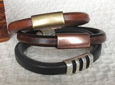 Dk Brown Leather   Copper Bracelet for Men by moonjigjewelry