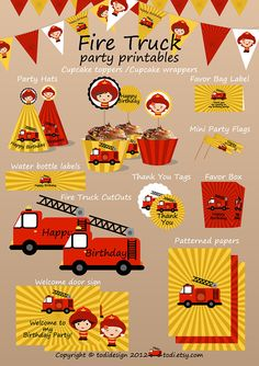 Fire Truck Printable Birthday Set  Printbale PDF  door TodiBoutique