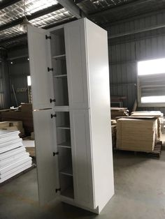 Tall Cabinet Storage, Locker Storage, White Shaker Cabinets, Lockers, Furniture, Home Decor, White Dressers, Decoration Home, Room Decor