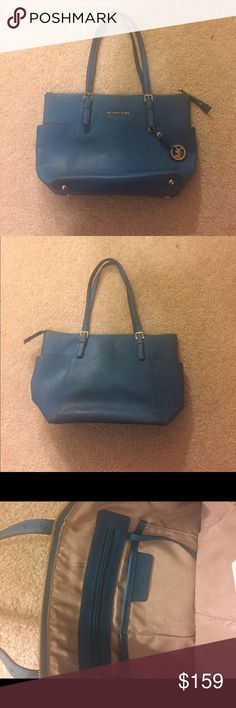 Michael Kors Jet Set Tote Turquoise and Gold, well preserved, 7/10, dimensions 15.5 by 10 by 4.25 inches, strap drop is 10 inches Michael Kors Bags Totes