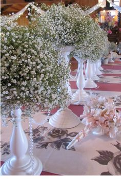 Open house set up at #Gabriel Springs wedding venue in Georgetown Texas #Flora Fetish #babys breath centerpieces
