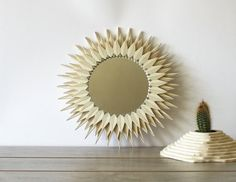 Round Sunflower Mirror hand made plywood frame geometric