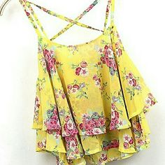 """Cropped flowing top Adorable spaghetti strap top. Soft and flowing. I purchased online put it's to short for my taste. I am a DD and it comes about 3"""" above navel in front while back touch waistband of jeans so I guess it's meant to be a hi-lo style.  Tried on but never worn there is not a brand tag  NWOT  (Bin #10) Tops"""