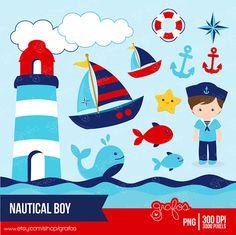 NAUTICAL BOY Digital Clipart, Nautical Clipart, Marinero Clipart / Descarga Instantanea                                                                                                                                                      Más