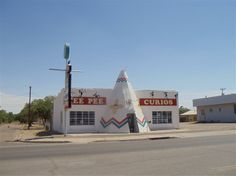 Built in the early 1940s, Tee Pee Curios was a gas station that also sold groceries and curios. The gas pumps were lost when Route 66 was widened from two lanes to four (likely in the 1950s). Today, it's a gift shop offering a variety of New Mexico-themed items...and curios