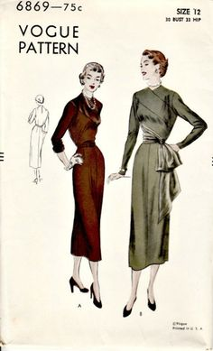 Surplice illusion bodice with the diagonal lines: 1940's Vintage Dress Pattern  VOGUE 6869