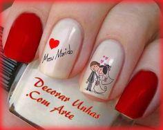 Cartoon Nail Designs, Nail Art Designs, Gel French Manicure, Manicure And Pedicure, Pretty Nails, Fun Nails, Red Acrylic Nails, Bridal Nail Art, Valentine Nail Art